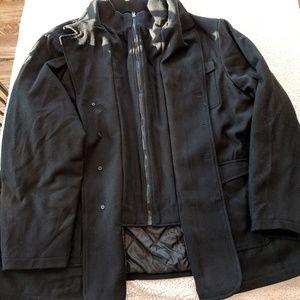 Mens kingsize all black pea coat